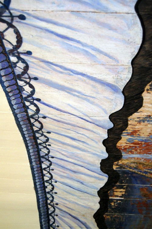 Detail gordijnschildering in proces voor Laurentiuskerk.