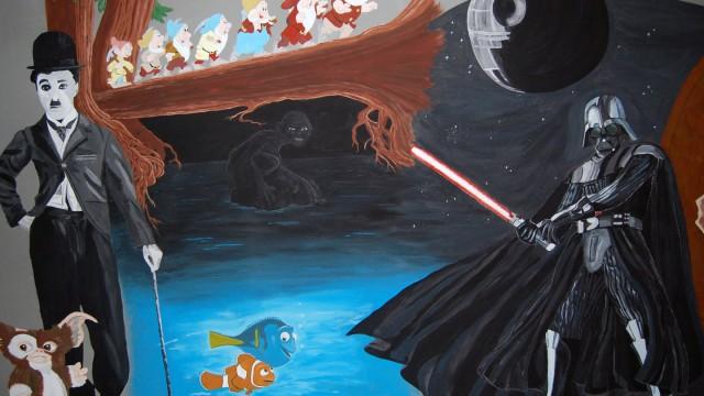 Muurschildering Euroscoop.